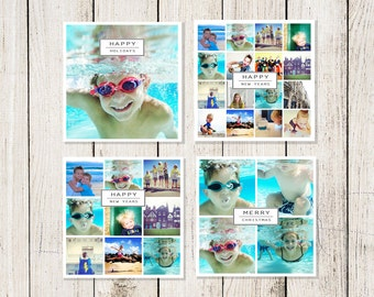 Holiday Cards: Instagram / Snapshot  Photo Collage Card (Digital File or Printed Cards)