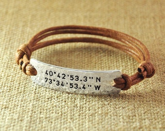 Personalized Rope Bracelet, Alloy hammered Custom Longitude Latitude, Stamped GPS Bracelet, Engraved Coordinates, Valentine's Gifts for her