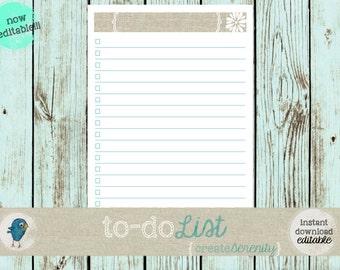 Editable Anything To-Do Checklist: Customizable Editable/PrintableTo-Do List - INSTANT DOWNLOAD/EDITABLE