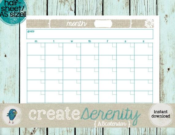 Calendar Half Sheet : Printable a half sheet size perpetual calendar instant