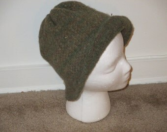 Boiled Wool Hat in greens and browns