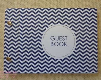 "Guest Book A5 ""Sailor Blue Chevron"" for Weddings, Engagements, Birthdays"