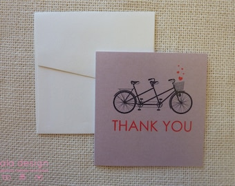 Tandem Bike Thank You Greeting Cards 10 Pack