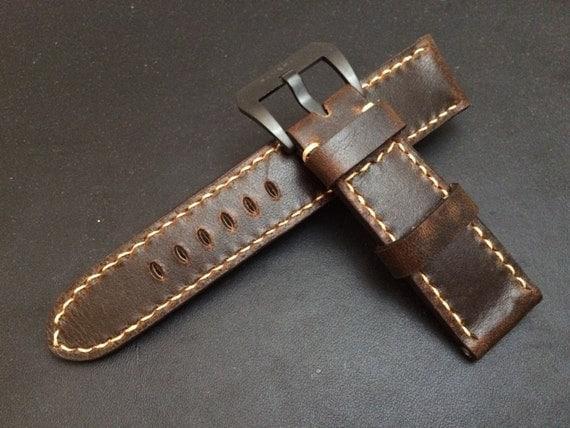 24mm straps, Handmade vintage Brown leather watch band, real leather watch strap, watch strap for Panerai, 24mm, 26mm, Light Brown stitching