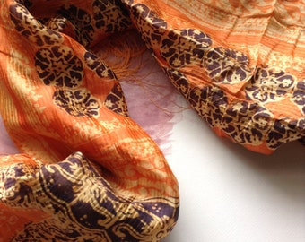 "Coral bannanna leaf fibre scarf. Batik bannanna ""silk"" scarf."