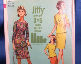 Vintage Simplicity Pattern 6963 Misses Jiffy One or Two Piece Dress Size 16 - 1967