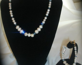 New and Blue- Freshwater Pearl and Crystal Bridal Set