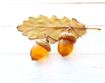 Acorn Earrings / Fall Earrings / Acorn jewelry / Fall jewelry / Botanical Earrings / Natural Earrings