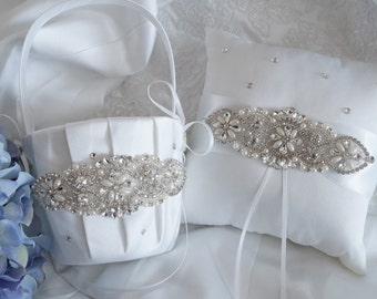 Flower Girl Basket, Ring Bearer Pillow, Wedding Basket and Pillow Set - Style 330