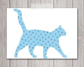 60% OFF SALE - Cat Artwork - 5x7 Polka Dot Print, Cat Wall Decor, Cat Wall Art, Cat Walking, Blue, Cat Print, Cat Printable, Kitty
