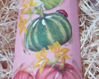 Wooden tile with pumpkins and flowers, with Ladybug