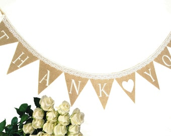 Thank you burlap banner wedding garland wedding photo for Arland decoration