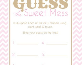 Baby Shower Game Cards For Guess The Sweet Mess Candy Bar Game! Dirty Diaper  Game