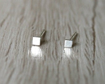 Tiny Square Stud Earrings - Minimalist Studs -  Mini Square Post Earrings - Flat Square Studs - 2mm Square