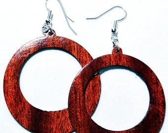 Hoop Earrings, Exotic Bloodwood, Natural Wood Earring, Wood Jewelry, Large Hoop,