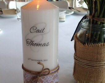 Wedding candle with Jute twine bow & lace personalised (74mm x 200mm)
