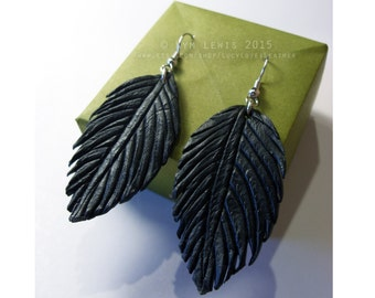Black Leather Feather Earrings, Leather Charm, Fantasy Earring, Raven Feather, Hand Carved Leather, Morrigan Earrings, Leather Jewelry