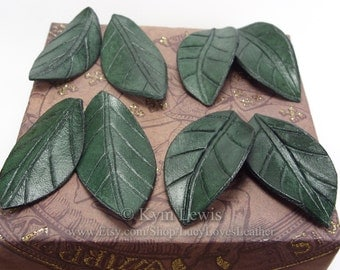 Leaf Charms, Leather Charm for Jewelry, Leather Leaf, Green Leaves, Hippy Boho Charm, Elven Jewelry, LARP costume supply