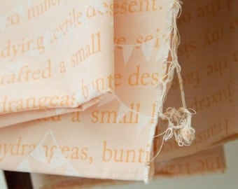 Bunting in Peach : Hand-printed Fabric Panel