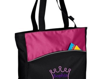 Personalized Crown Passion Pink/Black Tote with FREE Personalization & FREE SHIPPING    B1510