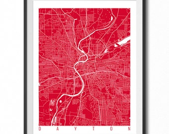 DAYTON Map Art Print / Ohio Poster / Dayton Wall Art Decor / Choose Size and Color