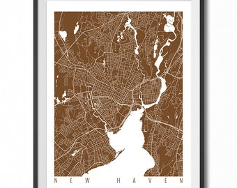 NEW HAVEN Map Art Print / Connecticut Poster / New Haven Wall Art Decor / Choose Size and Color