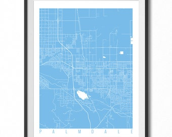 PALMDALE Map Art Print / California Poster / Palmdale Wall Art Decor / Choose Size and Color