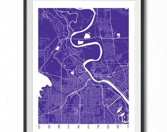 SHREVEPORT Map Art Print / Louisiana Poster / Shreveport Wall Art Decor / Choose Size and Color