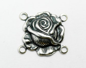 11 Silver Rose Connectors, Antiqued Silver Plated Brass, Made in USA,  #TB120S