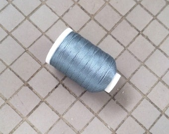 Vintage Gudebrod/Utica Silk Thread Spool, Cotton Blue, Size F, 185 Yards