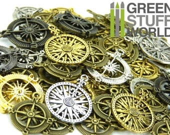 Set 85gr. - Compass Windrose Beads Mix - 20-30 units - sizes 2.5-3.5cm - Pirate Steampunk set
