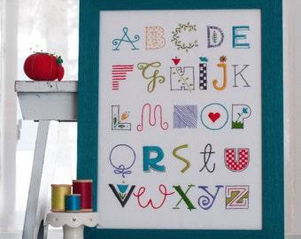 Alphabet Sampler Hand Embroidery Pattern
