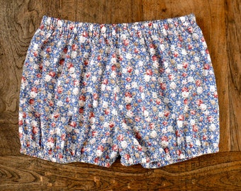 Yoga Shorts - blue with red and white flowers-100% cotton