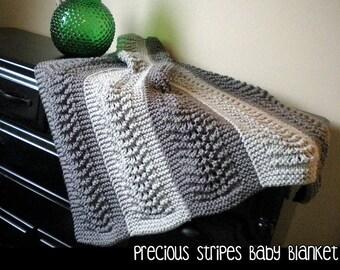 Precious Stripes Baby Blanket Knitting Pattern
