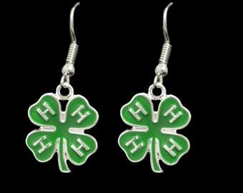 4H Green Clover Earrings