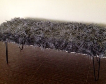 Faux Fur Bench with Black Hairpin Legs