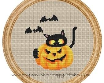 Cross Stitch Pattern PDF halloween cat with pumpkin DD0118