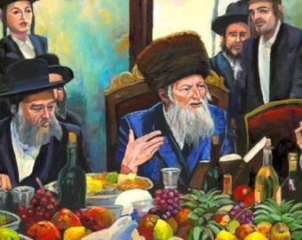 Rebbe Tu Bishvat Tish Jewish Art Judaica Giclee Print Israeli Artist Judaica Print Jewish Rabbi