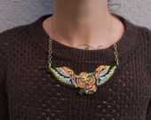 Owl pendant with autumnal leaf charm, halloween or fall themed, Tattoo flash, colorful, linked by gold plated chain