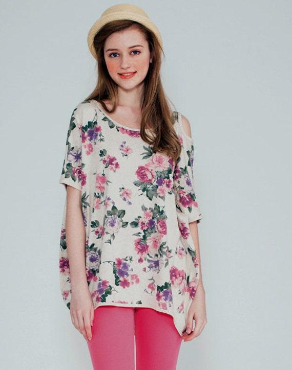 Floral Wide T Shirt Cotton Open Shoulder Women 39 S By