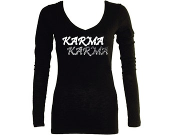 Karma black v neck customized sleeved women t shirt-yoga apparel