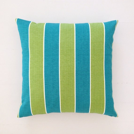 Outdoor cushion teal turquoise & lime striped designer