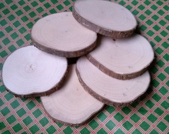 Wood circle 6 pcs,Medium size round wooden coasters, Tree slice, Unfinished wood circle, wooden slices, Rustic table decor, Country style