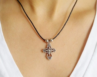 cross necklace fashion jewellery silver cross charm necklace cord necklace handmade jewellery cross jewellery silver charm necklace gift her