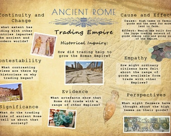 Printable Ancient Rome History Poster, Trading Empire Historical Inquiry