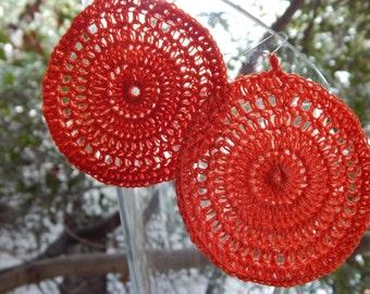 crochet round earrings, handmade