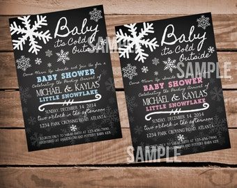 Chalkboard Baby It's Cold Outside Baby Shower Invitation - Winter Baby Shower - Christmas Baby Shower