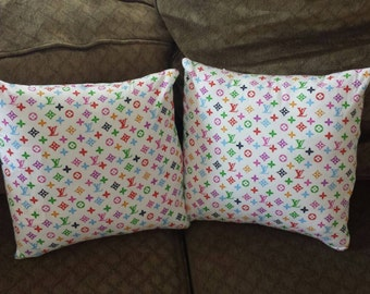Louis Vuitton Inspired Multi Color Pillow Set of 2 New! Free Shipping!