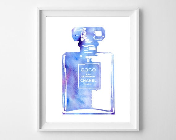 Purple Chanel Perfume Watercolor Perfume Coco Chanel