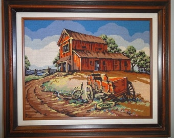 Vintage 1970's Barn and Wagon Needlepoint/Dated